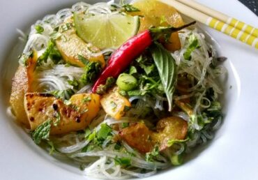 SEARED PEPINO MELON WITH GLASS NOODLE SALAD
